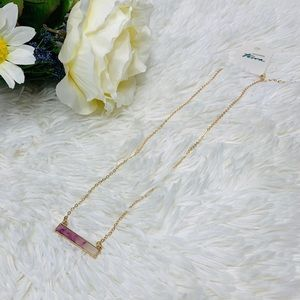 NWT Terra Amethyst and Crystal Gold Bar Necklace